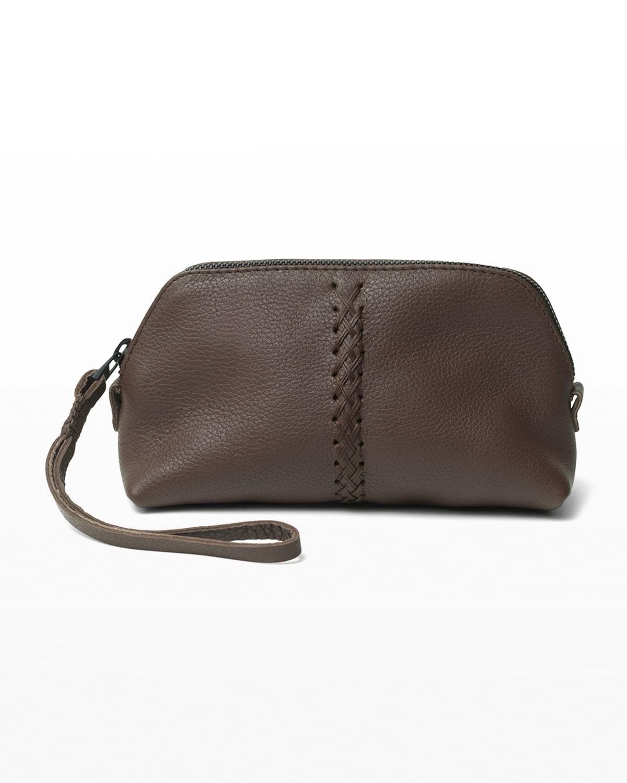Vanity Stitch Grained Leather Wristlet Bag