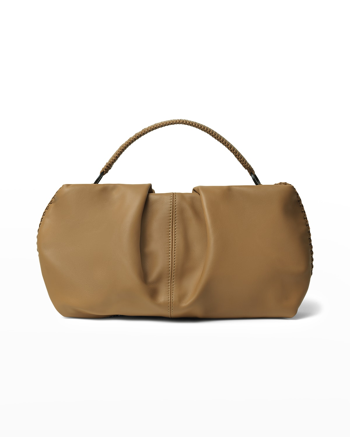 Maxi Pleated Top-Handle Clutch Bag