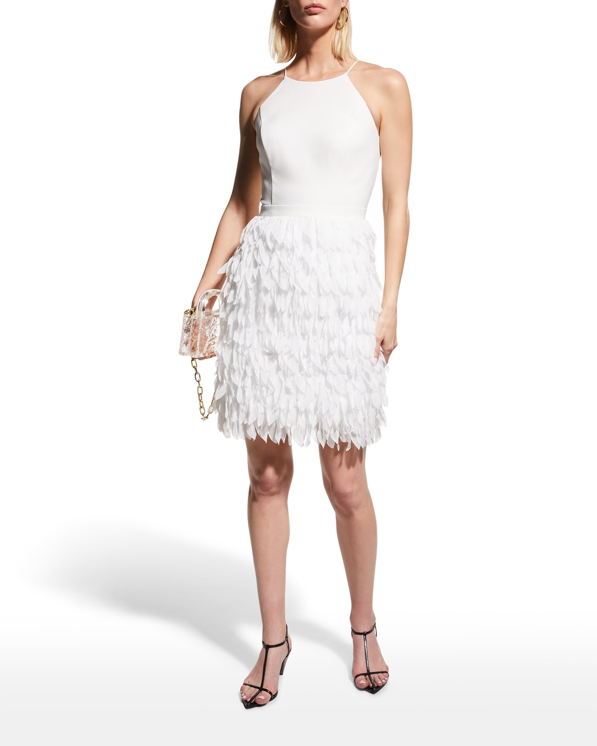 Tiered Feather Halter Dress