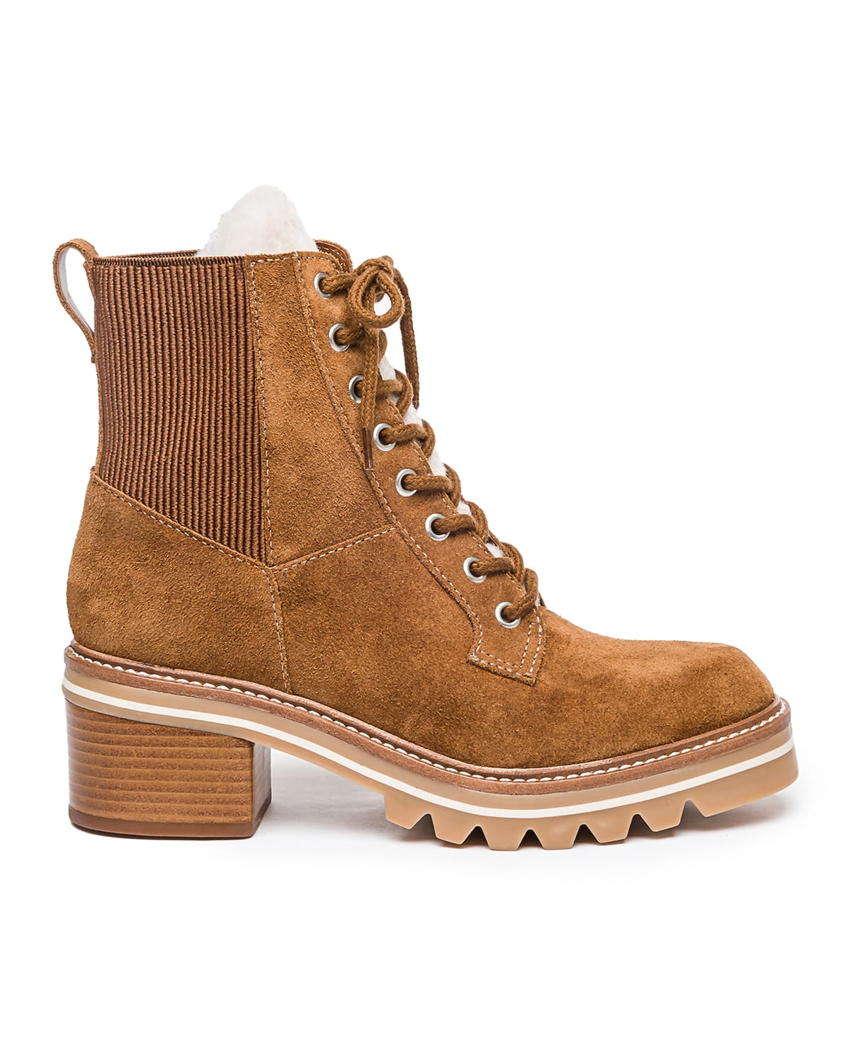 Selena Shearling Suede Combat Boots