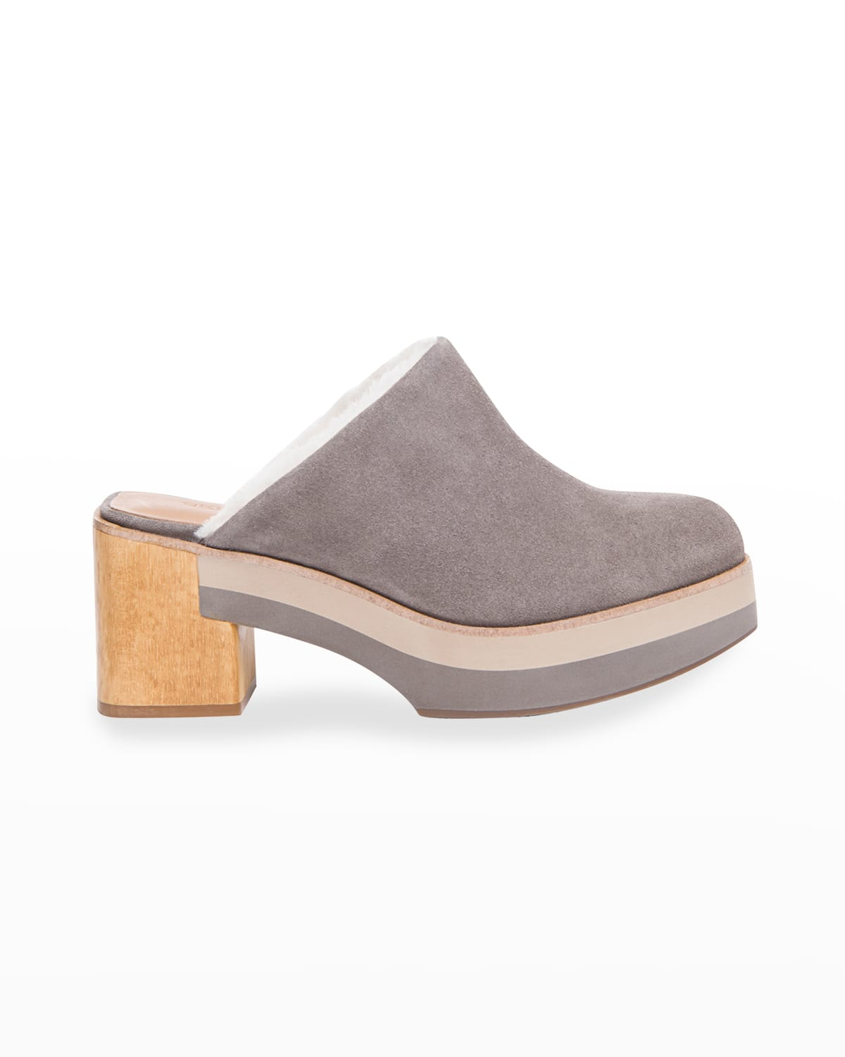 Sky Suede Shearling Clog Mules