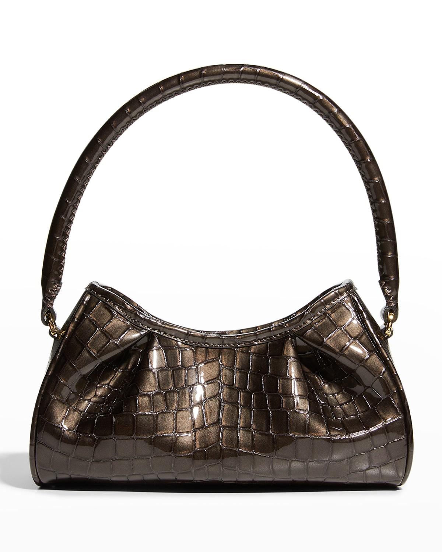 Dimple Small Pearl Croc-Embossed Shoulder Bag