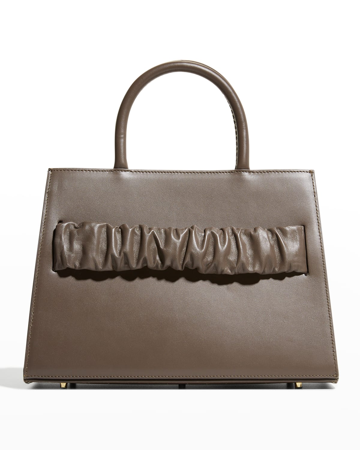 Chouchou Ruched Leather Top-Handle Bag