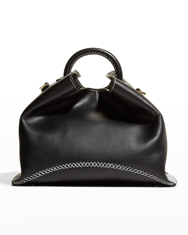 Raisin Stitch Leather Top-Handle Bag