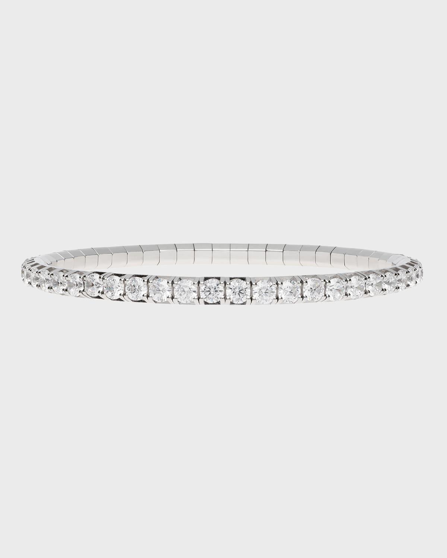 Round White Diamond Stretch Tennis Bracelet