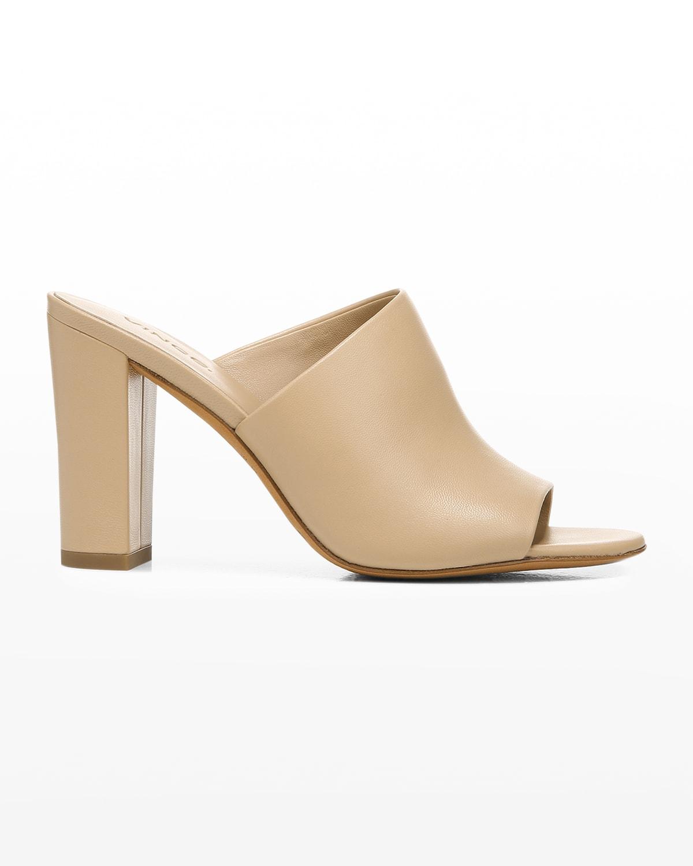 Hanna Leather Block-Heel Mules