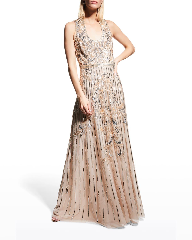 Sequin Scoop-Neck Sleeveless Gown