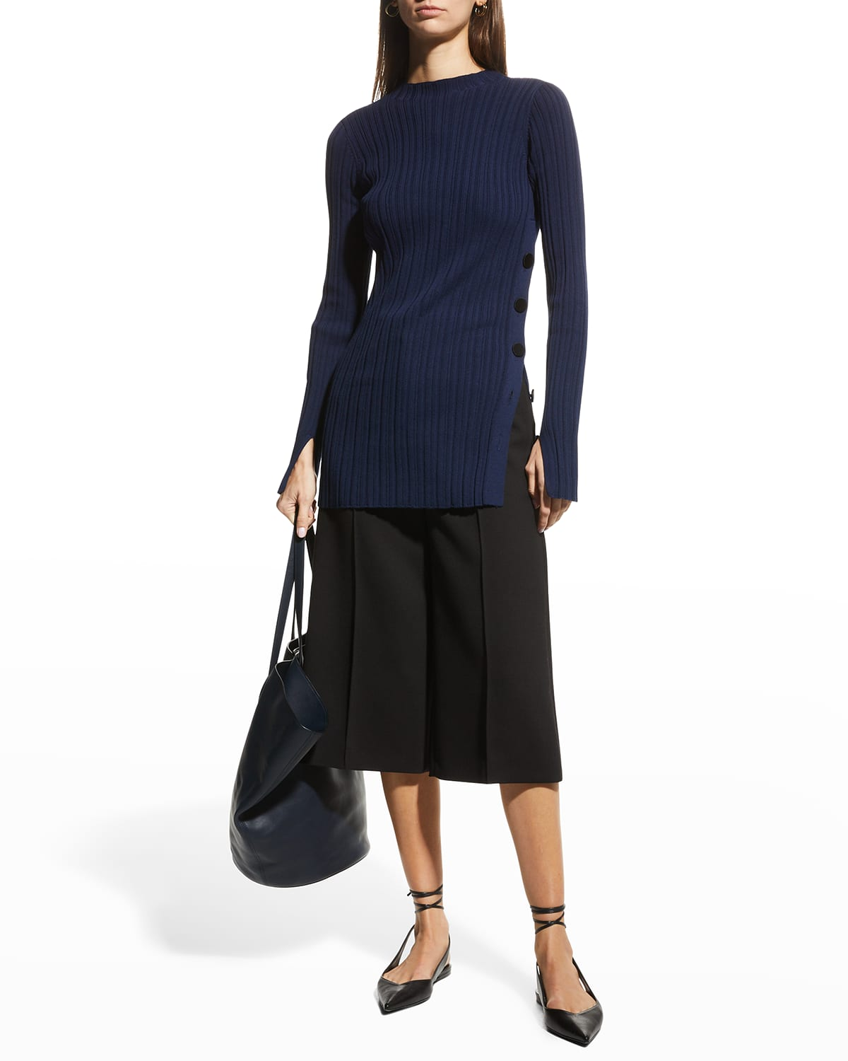Button-Side Ribbed Tunic Top