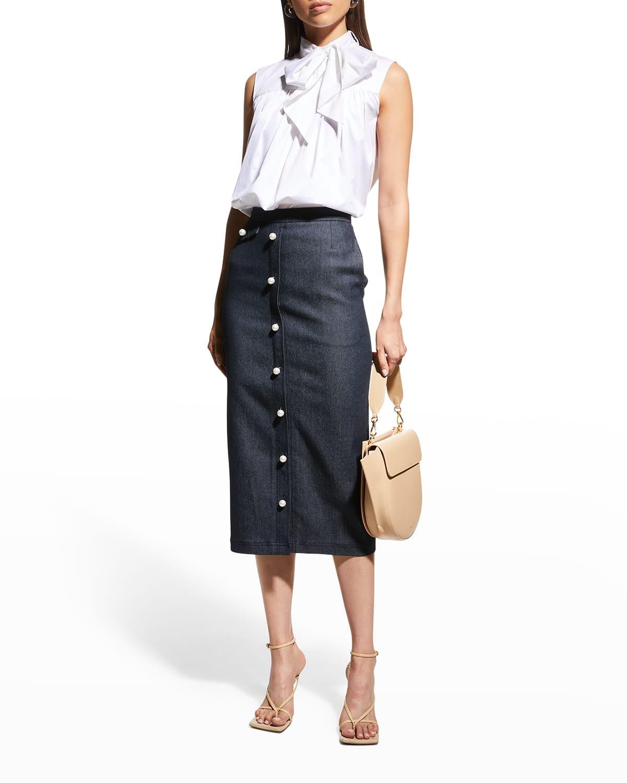 Pearlescent-Button Denim Midi Skirt