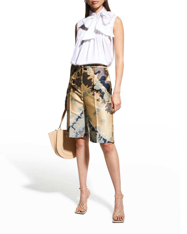 Abstract-Print Jacquard Bermuda Shorts