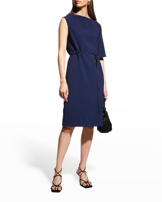 Single-Sleeve Belted Cady Dress