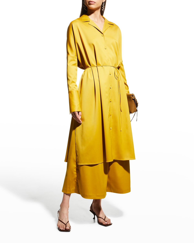 Tropical Wool Midi Shirtdress