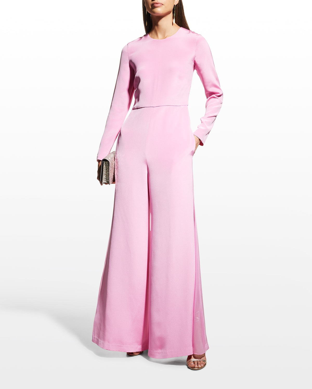 Wide-Leg Godet Silk Crepe Jumpsuit