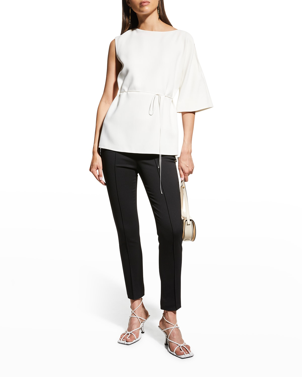 Single-Sleeve Belted Cady Blouse