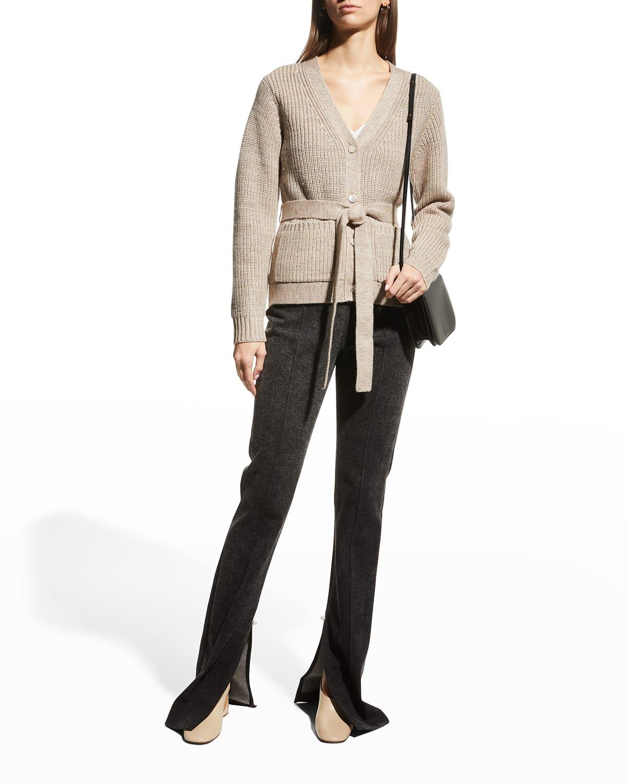 Belted Merino Wool Cardigan