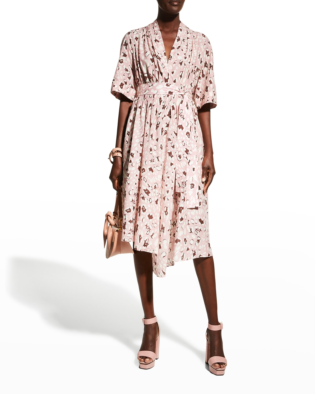 Leopard-Print Asymmetric Midi Dress