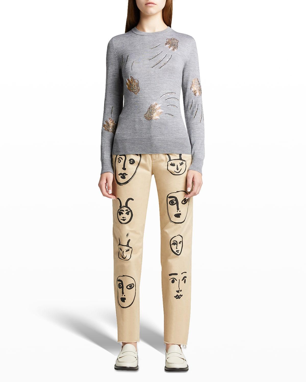 Leopardo Sequined Cashmere-Silk Sweater