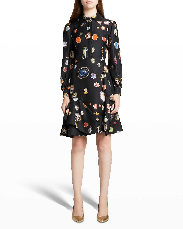 Cameos Printed Fit-&-Flare Ruffle Silk Dress