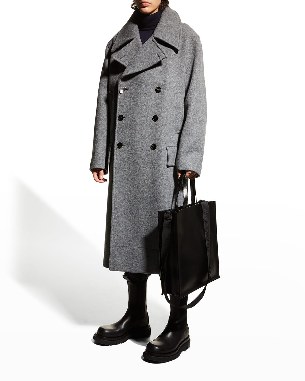 Men's Wool Melton Double-Breasted Full-Length Military Coat