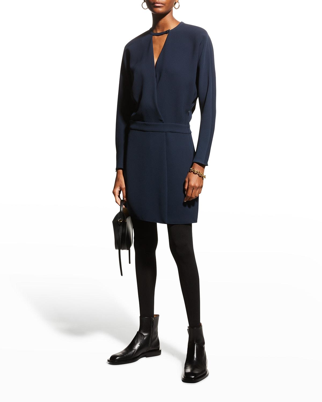 Long-Sleeve Short Wrap Dress