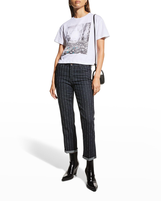 Textured Pinstripe Denim Chino Pants