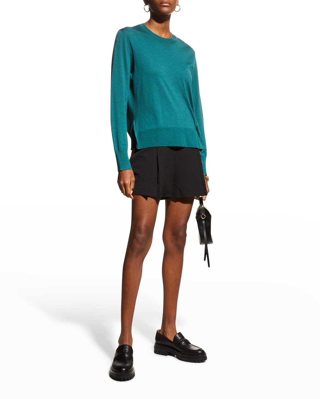 Crewneck Sweater w/ Drawstring Detail