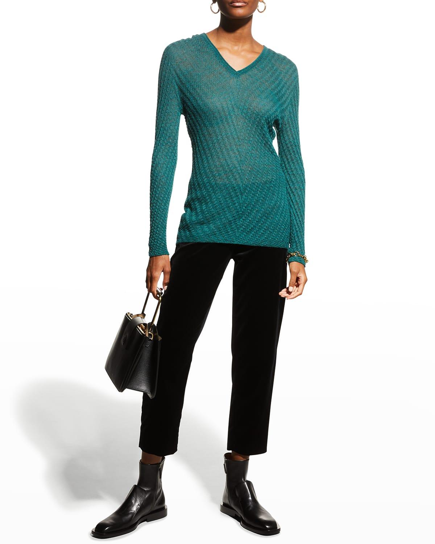 V-Neck Links-Stitched Knit Top