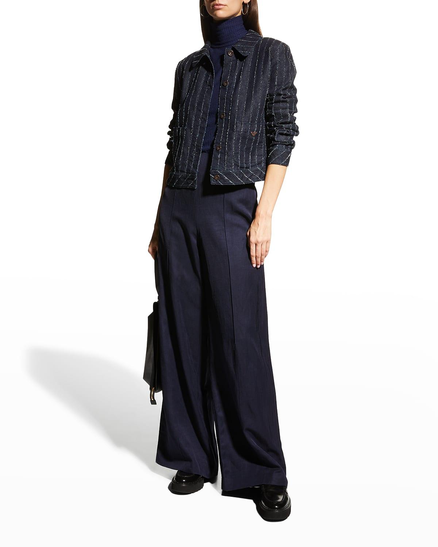 Textured Pinstripe Denim Jacket