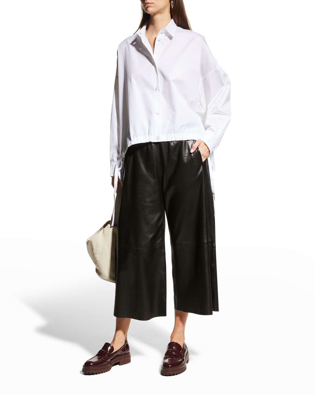Collared High-Low Top w/ Front Drawstring