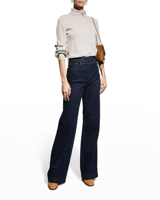 11 Oz Rinsed Denim High-Waist 5-Pocket Jeans