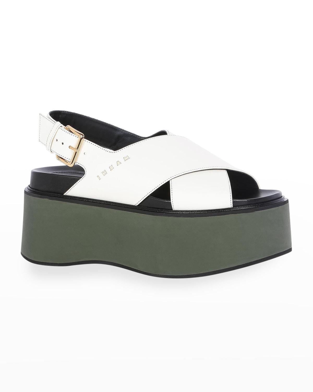 Crisscross Calfskin Slingback Platform Sandals