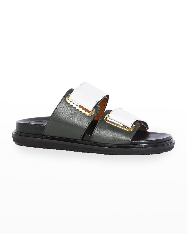 Fussbett Bicolor Leather Slide Sandals