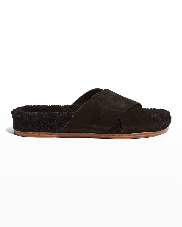 Canna Crisscross Shearling Slide Sandals