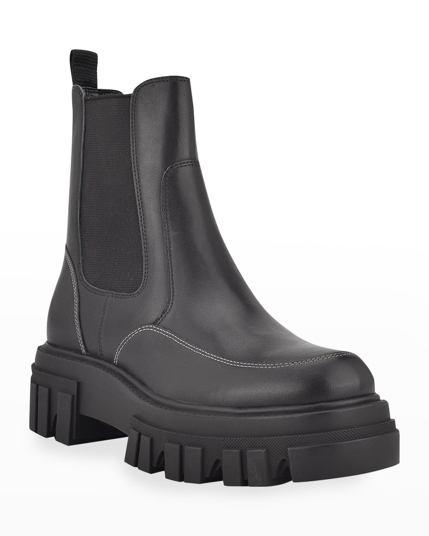 Morgan Leather Lug-Sole Chelsea Booties
