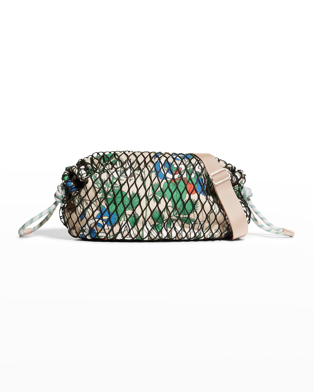 Fishnet & Floral-Print Canvas Crossbody Bag