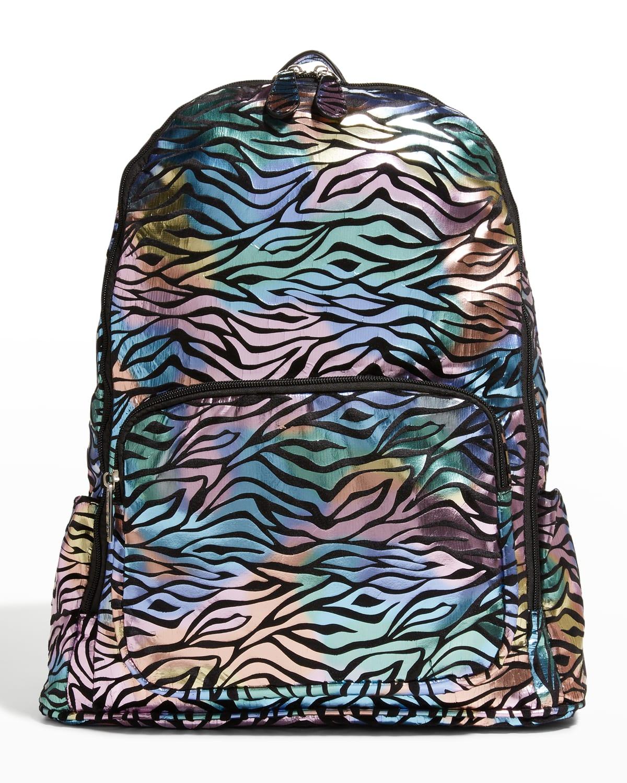 Kid's Metallic Zebra-Print Backpack