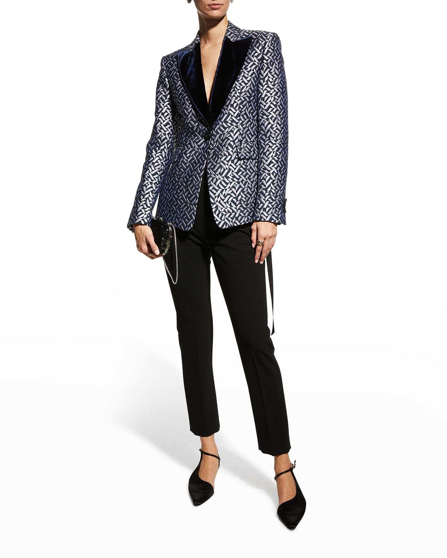 Geometric Jacquard Jacket w/ Velvet Lapels