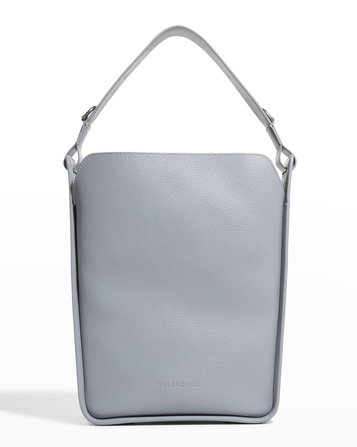 North-South Grained Leather Hobo Tote Bag