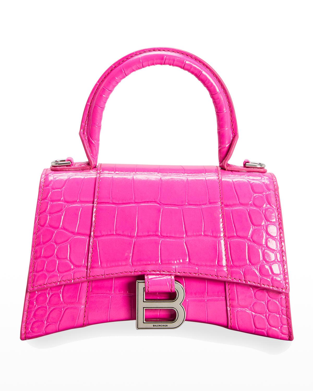 Hourglass XS Crocodile-Embossed Top-Handle Bag