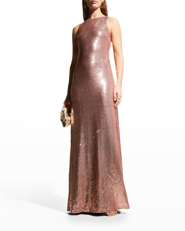 Madden Sequin Deep V-Neck Twist Gown