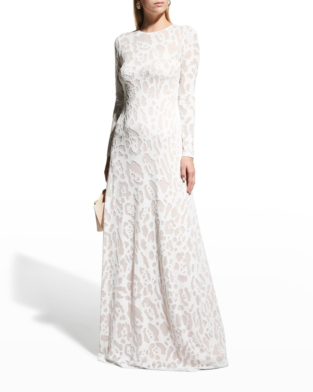 Adele Leopard Open-Back Gown