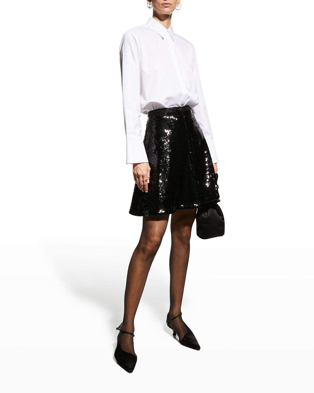 Sequin Jersey A-Line Skirt