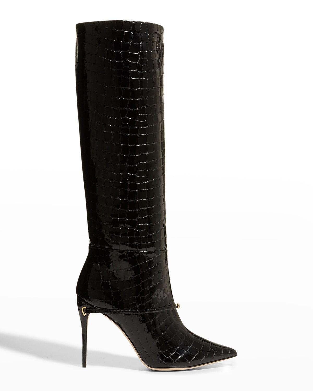 Cece 105mm Mock-Croc Patent Boots