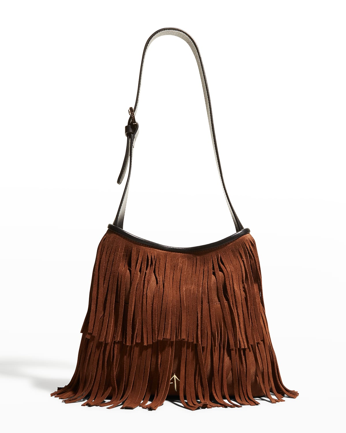 Fringed Two-Tone Suede Hobo Bag