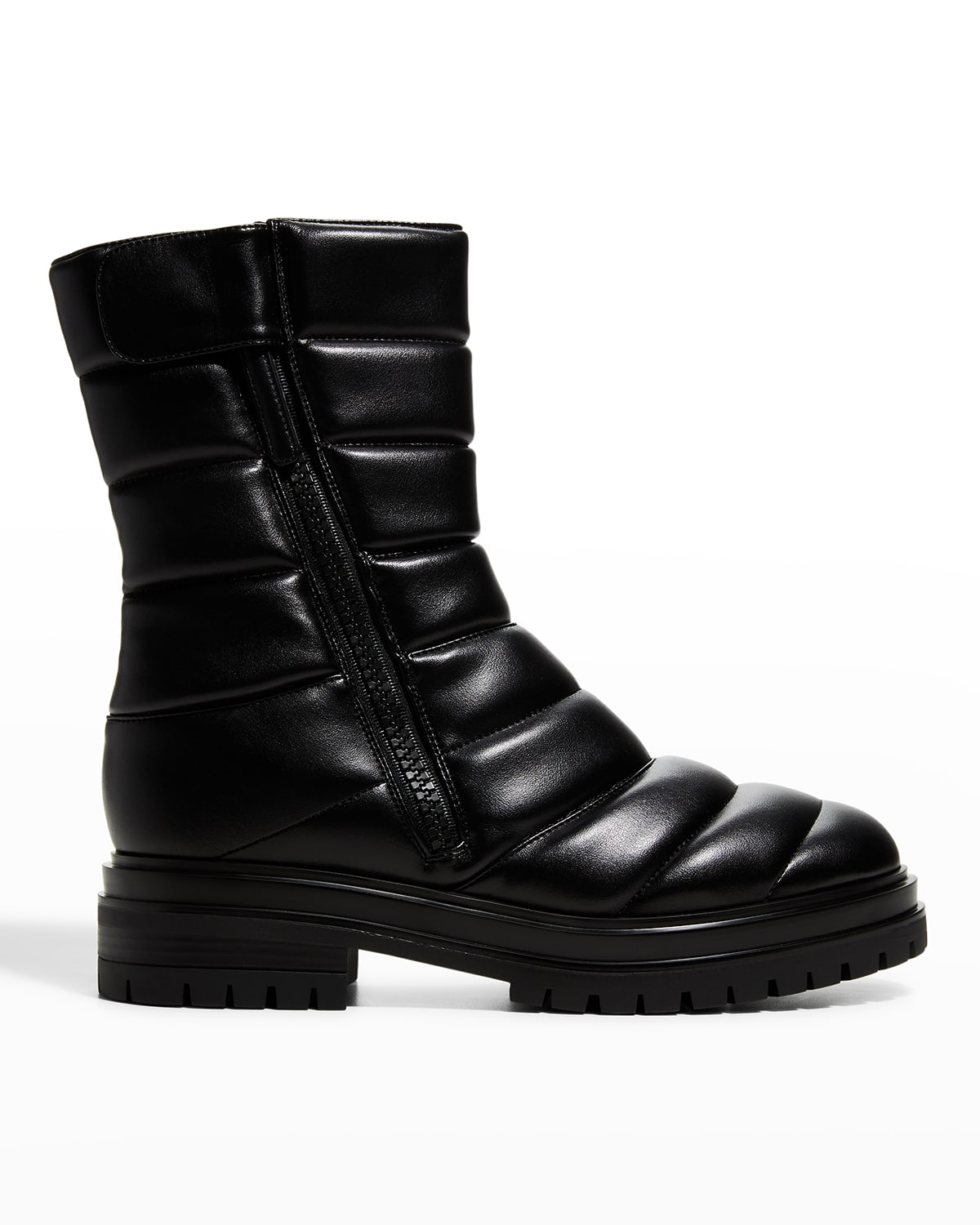 Quilted Eco Napa Faux-Leather Stretch Booties