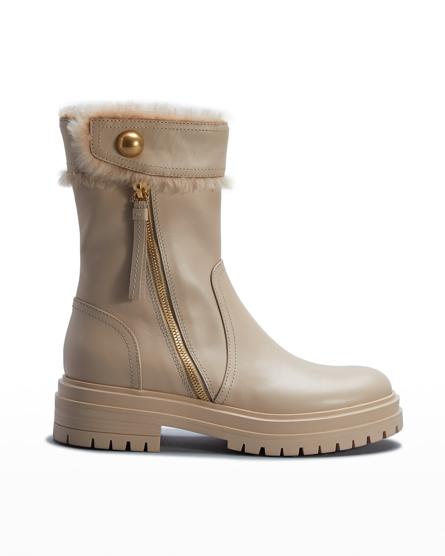 Montreal Calfskin Zip Snow Booties