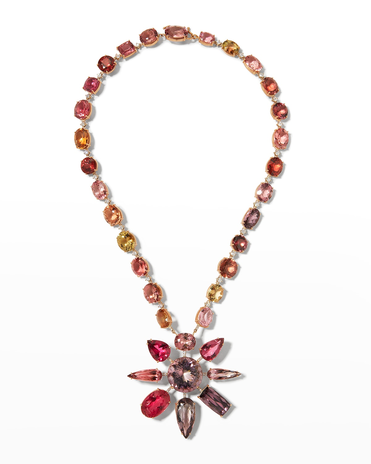 Pink and Yellow Tourmaline Necklace in 18k Rose and White Gold