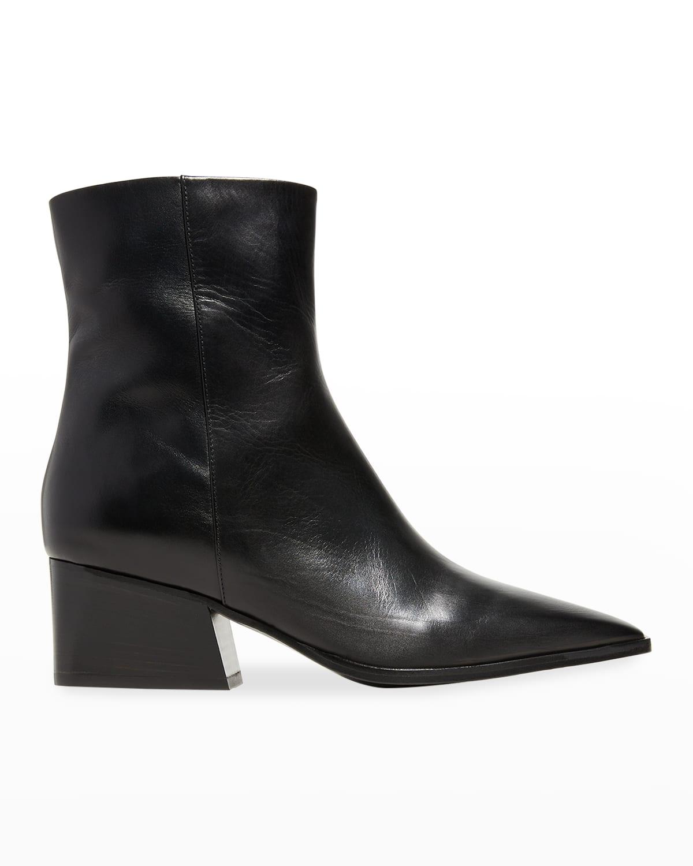 Pauline Leather Zip Ankle Booties