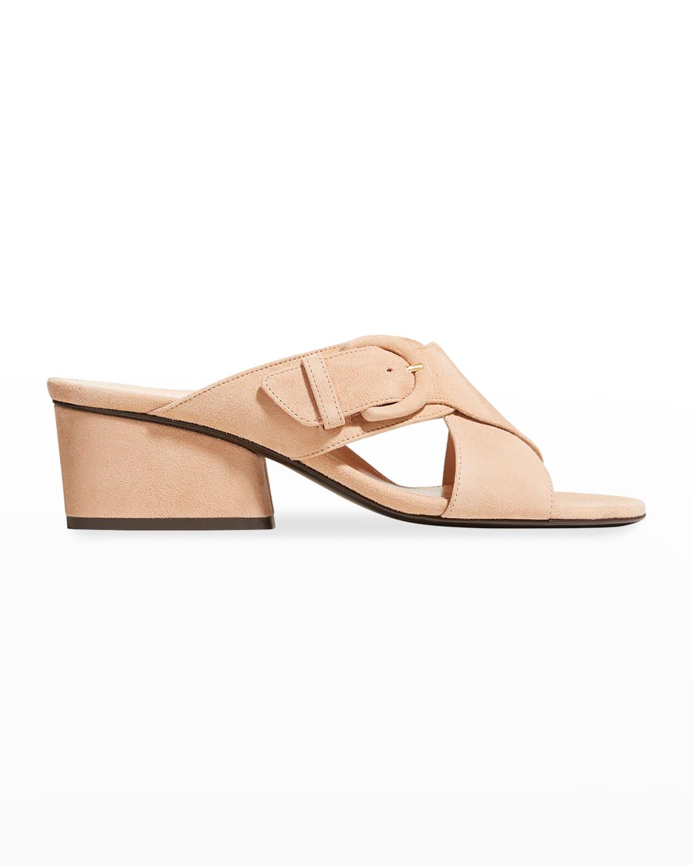 Barrie Suede Buckle Slide Sandals
