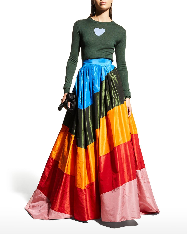 Rainbow Diagonal-Striped Ball Skirt